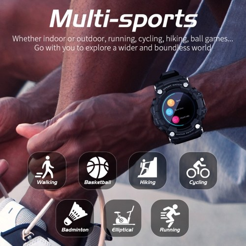 LOKMAT ATTACK Outdoor Sports Smart Watch 1.28'' TFT Full-Touch Screen BT5.0 IP68 Waterproof Fitness Tracker Multiple Sports Mode Heart Rate/Blood Pressure/Sleep Monitor Long Endurance Message/Call Reminder Remote Camera/Music Control Compatible with Android iOS