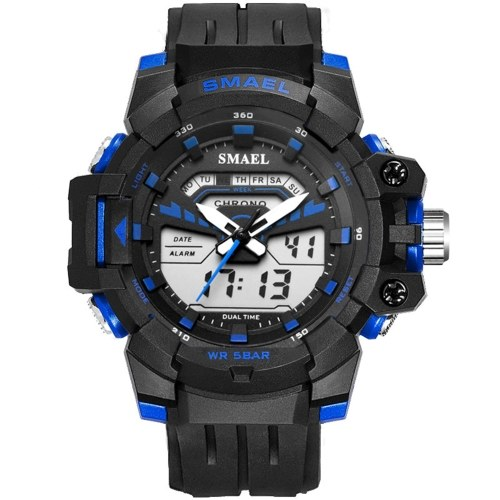 SMAEL 1712 Multifunctional Men Sport Watch Fashionable Quartz Digital Dual-display Wristwatch with 50M Waterproof/Luminous/Alarm/Stopwatch/Week