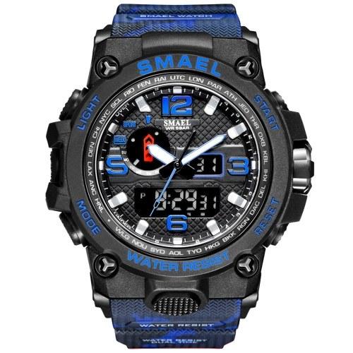 SMAEL SL1545(Camouflage) Fashionable Waterproof Outdoor Sport Men Digital Watch Multifunctional Quartz Electronic Dual Display Wrist Watch with Luminous/Alarm/Stopwatch/Hourly Chime/Week/Date