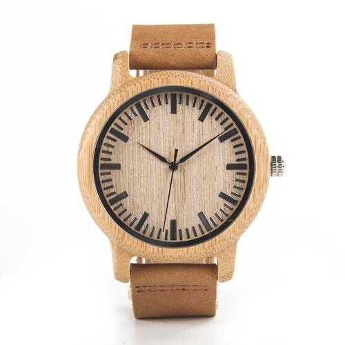 BOBOBIRD Moda simples Relógios de amantes de bambu Quartz de couro genuíno Relógios de mão casual de madeira Casais