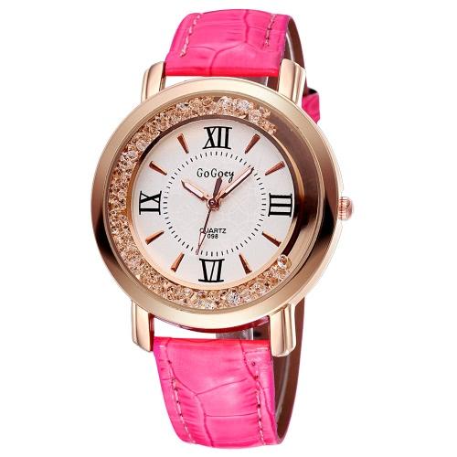 GOGOEY nuevo Moda PU Casual cuero cristal de diamante de diamantes de imitación reloj vestido mujer reloj de pulsera