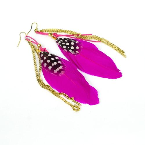 Linda moda pluma larga cadena araña gota cuelgan pendiente gotas joyas accesorio regalo para la mujer niña