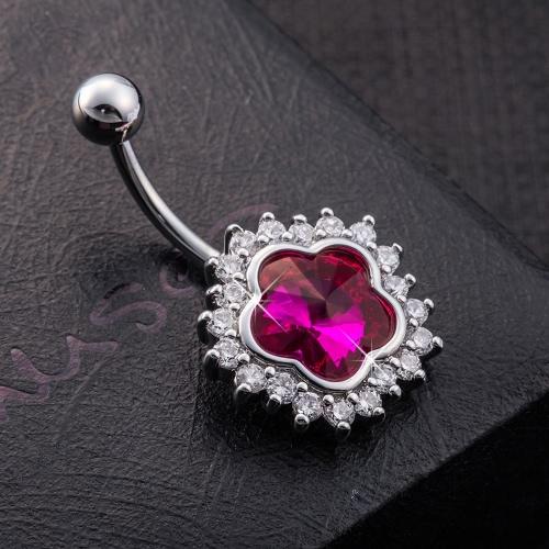Heiße Art und Weise reizvolle Kupfer Blumezircon Kristallrhinestone-Nabel-Bauchn Ringe Nail Piercing Körper-Schmucksachen für Frauen-Geschenk