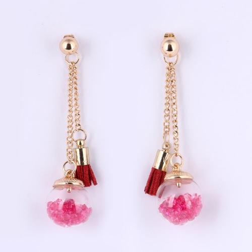 Fashion Unique Charm Glass Ball Tassel Long Zinc Alloy Earring Ear Dangle for Women Gift Girl Party Wedding