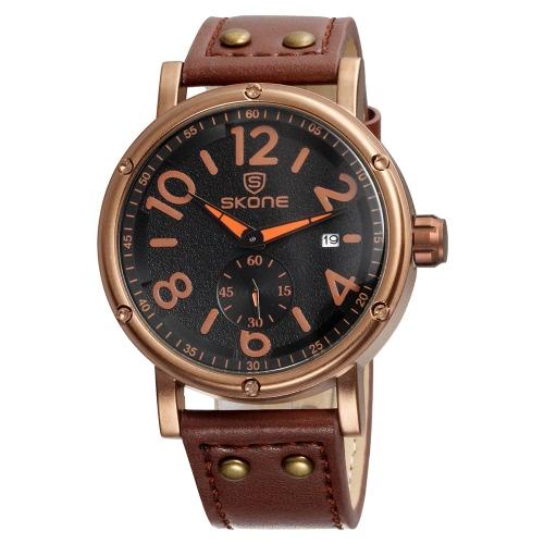 SKONE nueva moda de lujo PU Cuarzo cuarzo analógico hombres relojes 30M impermeable Big Dial Cool reloj de pulsera para hombre Masculino Relogio