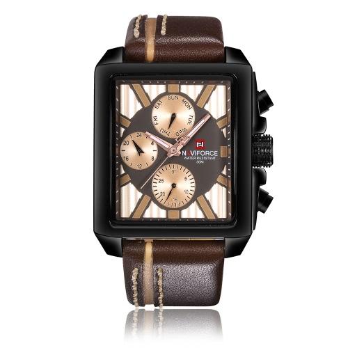 NAVIFORCE Relógios de mão de quartzo de luxo de couro genuíno Dial quadrado 3ATM Relógio de pulso casual à prova de água com sub-discagem + Caixa