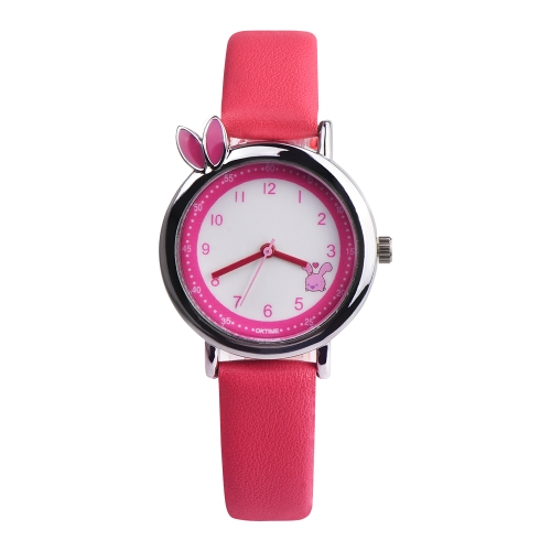 OKTINE Simple lindo Orejas de Conejo Reloj de pulsera Tiempo de Ocio A Prueba de agua para Niñas Niños Reloj Casual