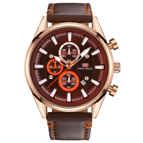 MINI FOCUS Fashion Luminous Quartz Men Casual Reloj de pulsera a prueba de agua Chrono Man Relojes de cuero genuino + Caja
