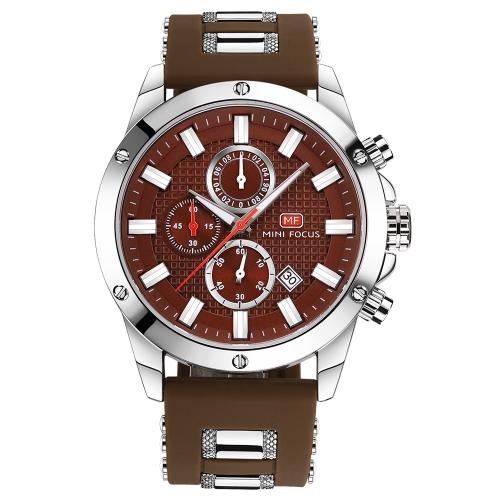 MINI FOCUS Reloj de Cuarzo Luminoso de Moda Hombre Reloj de pulsera de Silicona a Prueba de Agua Reloj de Cronógrafo Deportes Casual + Caja