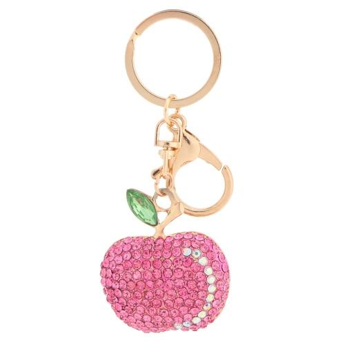 Brillante cristal Rhinestone Linda fruta manzana llavero Zinc aleación coche llavero monedero bolsa encanto accesorio regalo de moda