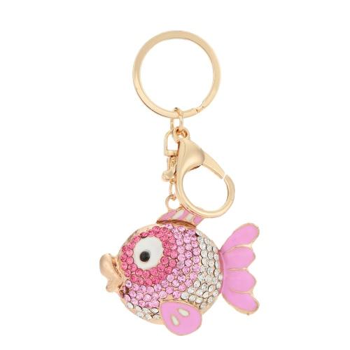 Único pez volador Animal Rhinestone llavero coche llavero encanto colgante accesorios de la joyería para regalo