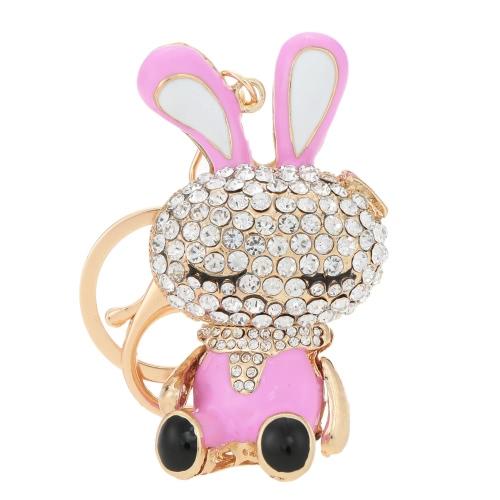 Hermosa Rhinestone cristal conejo conejo encanto Animal colgante coche llavero llavero para bolsa monedero de regalo