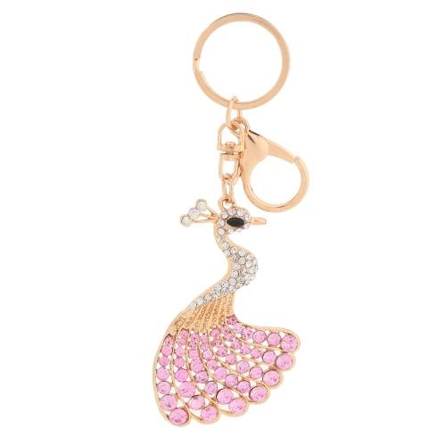 Pavo real de cristal Rhinestone brillante hermoso pavo real colgante llavero moda mujer joyas coche llavero monedero bolso encanto accesorios regalo
