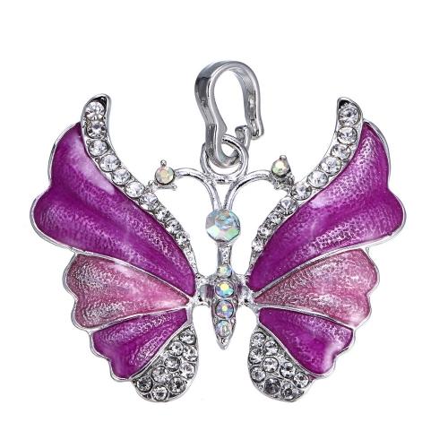 Lujo elegante blanco Gold Electroplated mariposa colgante cadena collar moda Rhinestone boda joyería accesorios regalo para las mujeres