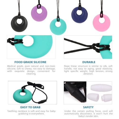 100 % Food Grade Silikon Zahnen Donut Ring Anhänger Halskette weichen Perlen für Chew Baby Kleinkind Krankenpflege Schmuck Spielzeug für Mom BPA frei EN71 F963 FDA-Zertifikat tragen