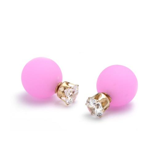 1 par único de la manera brillante Zircon del Rhinestone de la bola de cristal doble echó a un lado del oído joyas pendiente de muchachas de las mujeres señora Gift