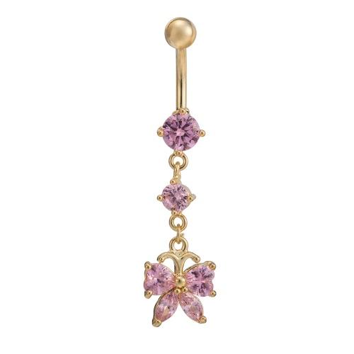 Mariposa del cobre caliente de la manera atractiva del cristal del anillo del ombligo del botón de vientre del clavo joyería piercing del cuerpo de la mujer regalo de las muchachas