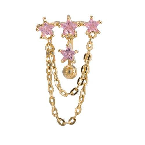 Heiße Art und Weise reizvolles Kupfer doppelte Schicht-Kristallrhinestone-Nabel-Bauchnabel-Ring-Nagel-Piercing Körper-Schmucksachen für Frauen-Geschenk