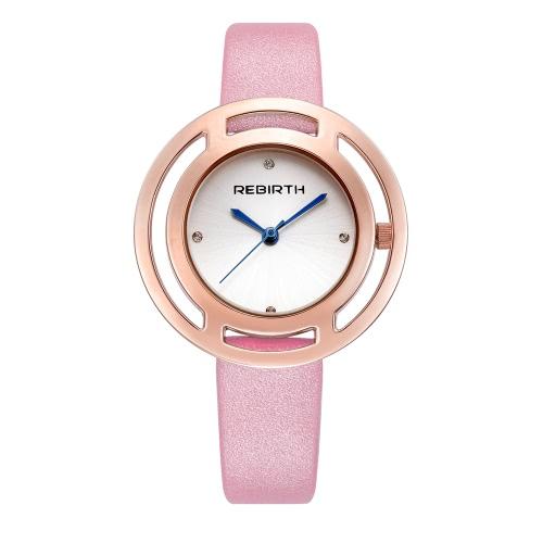 REBIRTH marca de lujo de cuarzo de cuarzo mujeres relojes a prueba de agua de cuero PU Ladies Ladies Casual reloj de pulsera ultra delgado mejor regalo