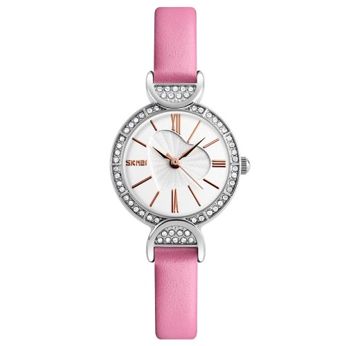 SKMEI 3ATM Resistente al Agua Reloj Reloj Mujeres Relojes De Cuarzo Reloj De Cuero Genuino Mujer Relogio Feminino
