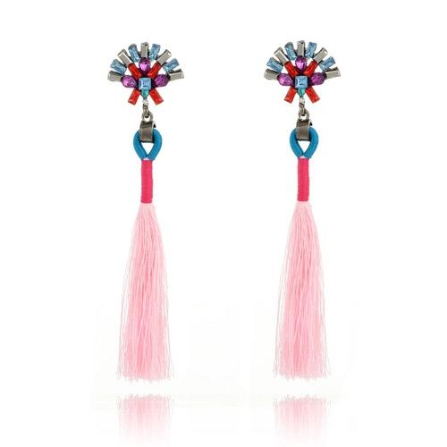 Las mujeres de largo borla pendiente pendientes de cristal cuelgan pendientes de gota Moda accesorio de joyería