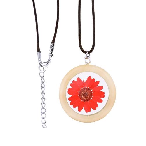Natürliche getrocknete Daisy Flower Necklace Handgemachte runde Holz Anhänger Halskette für Frauen Schmuck