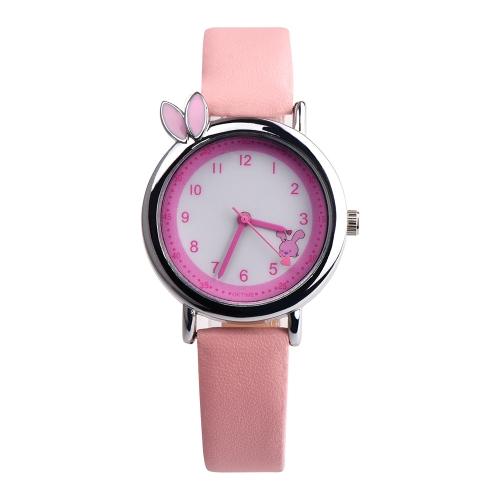 OKTINE Simple Cute Rabbit Ears Relógio de pulso Tempo de lazer impermeável para meninas Kids Casual Watch