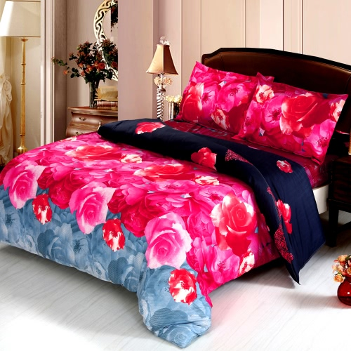 4pcs Queen Size 3D Printed Bedding Set Bedclothes Home Textiles Love Heart Angel Pattern Quilt Cover + Bed Sheet + 2 Pillowcases