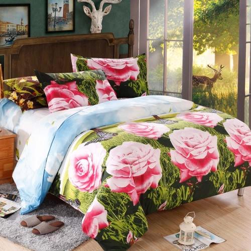 4pcs королева размер 3D печати кроватях набор постельное белье дома Текстиль бабочка шаблон Роуз Одеяло Обложка + простыня + 2 наволочки
