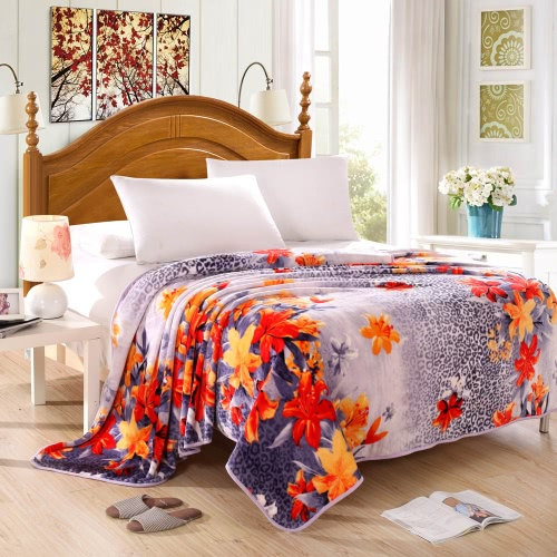 Vintage Ham Pattern Printed Flannel Blanket Bed Sheet Bedclothes Home Textiles Queen Size 200 * 230CM