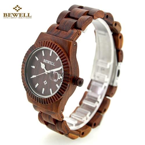 BeWell Moda Alta Qualidade da Madeira Super Leve Relógio de pulso Resistente à água Elegante relógio de quartzo com calendário