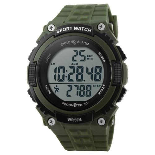 SKMEI impresionante moda alta calidad hombre multifuncional militar reloj deportivo con función de podómetro año fecha semana alarma cronógrafo