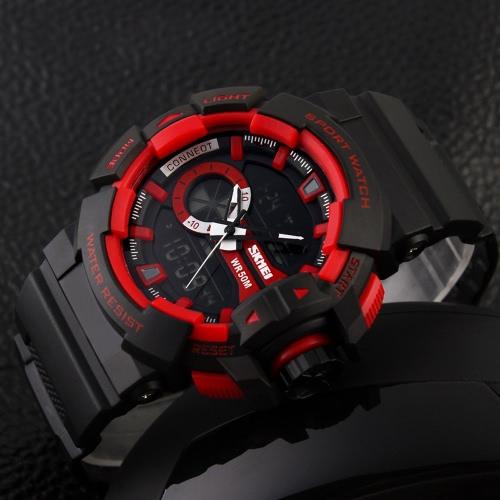 Relojes de moda de marca SKMEI senderismo deportes reloj electrónico colegial PU cuero reloj 50M cuarzo resistente al agua movimiento Digital hora Dual pantalla reloj de pulsera hombre