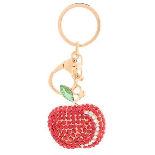 Słodkie Lśnienie Rhinestone Zinc Alloy Apple Key Ring dla samochodu Key Purse Bag Decor