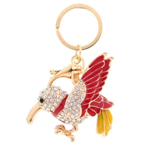 Esmalte aves cuelgan colgante llavero cristal Rhinestone joyería llavero Animal coche llavero monedero bolsa encanto accesorio regalo de moda