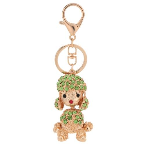 Hübsch Crystal Strass Tier Glück Pudel Hund Anhänger Schlüsselanhänger 18K Gold galvanisch Welpe Schlüsselanhänger Tasche Handtasche Charm Zubehör Geschenk