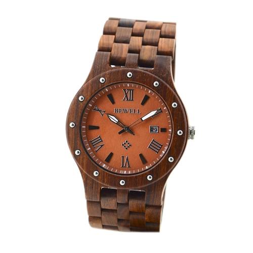BEWELL cuarzo madera única moda hombres reloj resistente al agua ligero luminoso Unisex reloj de pulsera con calendario sándalo rojo