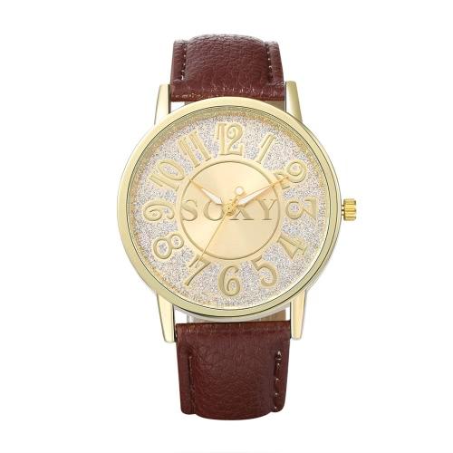 SOXY Business Casual abrigo cuarzo reloj electrónico oro esfera redonda pantalla Digital analógica Zinc aleación caso PU Beige cuero correa muñequera 40mm