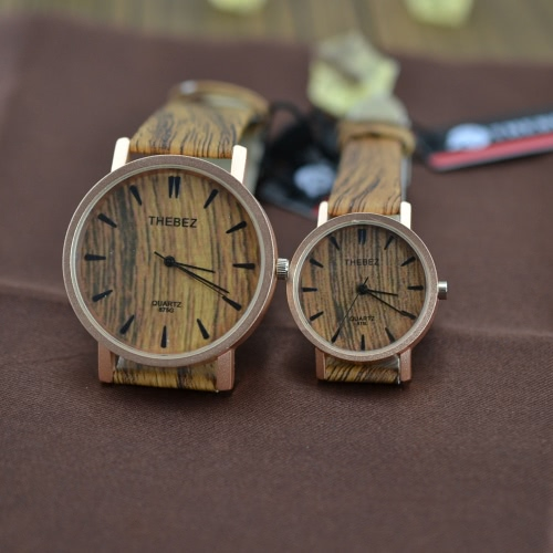 Novo estilo simulação madeira grão PU couro quartzo analógico relógio peso leve mulheres homens relógios romântico dele e dela relógios exclusivos par
