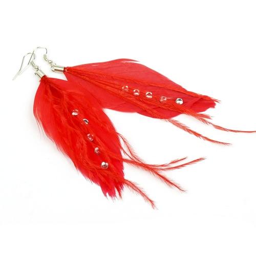 Moda Linda pluma larga borla caída cuelgan lámpara pendiente gotas mujeres chica joyas accesorios regalo