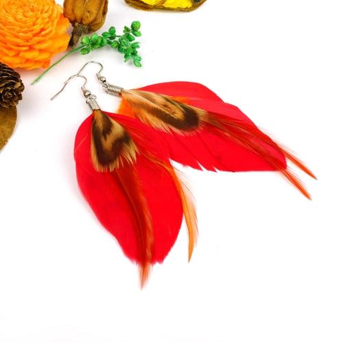 Women New Fashion Long Colorful Feather Cute Chandelier Dangle Earring Eardrop Jewelry Accessory Gift