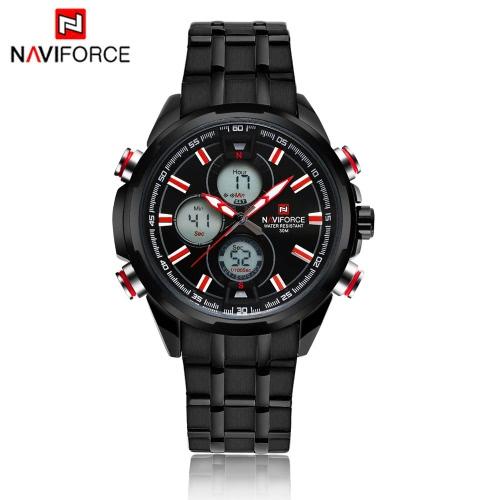 NAVIFORCE deportivo Digital de doble tiempo reloj militar 3ATM resistente al agua de alta calidad acero inoxidable hombre cuarzo Digital reloj de pulsera con función de reloj calendario/alarma/parada, luminoso
