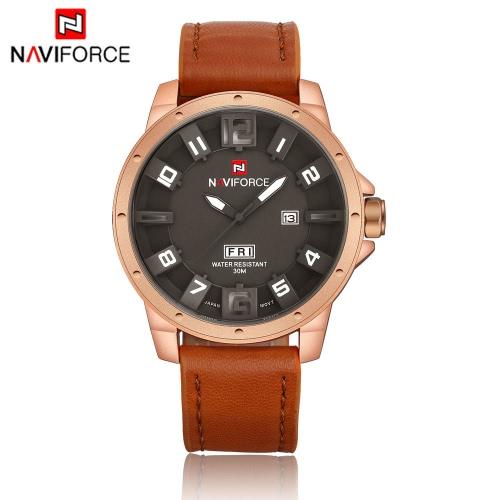 NAVIFORCE cara 3D único hombre Watch 3ATM cuero resistente al agua PU correa ocio ejército militar reloj de pulsera con pantalla de fecha y semanas