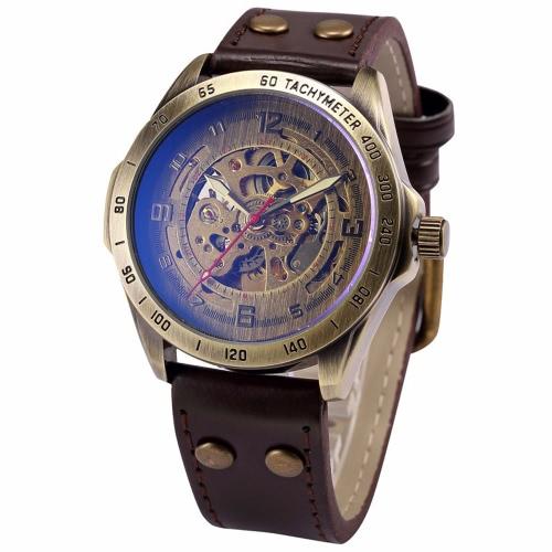 SHENHUA mężczyzna retro retro rocznica Brązowy Wygodny PU Skórzany pas Automatyczny szkielet Zegarek doskonały szkielet przypadkowy Steampunk Antique Style Watch