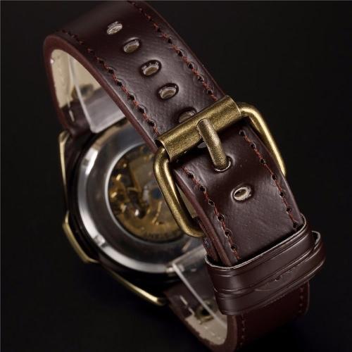 SHENHUA Retro Vintage Bronze RS komfortable PU Leder Band Automatic Skelett Armbanduhr ausgezeichnete Skelett lässig Steampunk Antique Style Herrenuhr