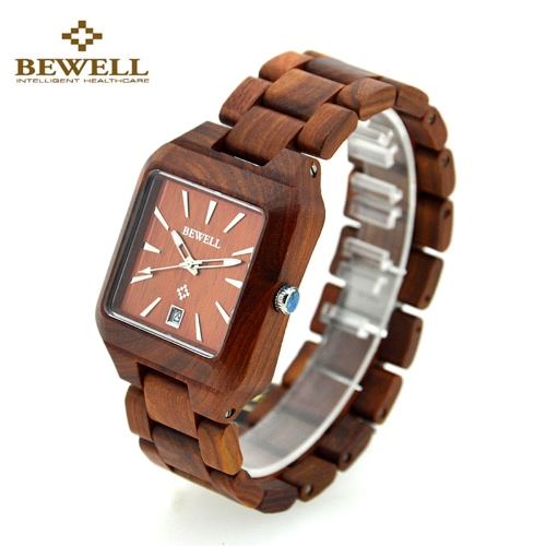 BEWELL Trendy Quartz Analog Healthy Hypoallergenic Wooden Wristwatch with Calendar Lightweight Immaculate Red Sandalwood Maple Ebony Unisex Watch for Wedding Anniversary