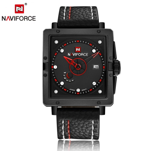 NAVIFORCE llamativo Fashion Square Dial analógico reloj de pulsera con caja resistente al agua cuarzo Casual hombres reloj con calendario