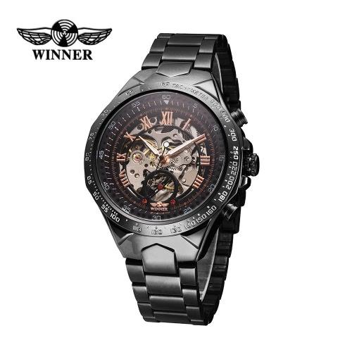 Gewinner hochwertige Männer automatische mechanische Uhr große Dial Automatik Business Skelett ausgehöhlter Armbanduhr