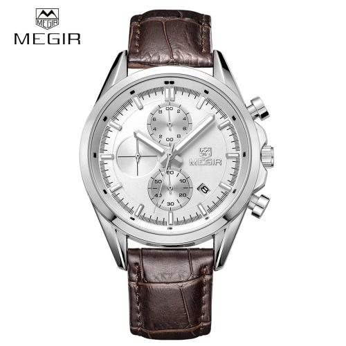 MEGIR 3ATM hombre analógico resistente al agua reloj de pulsera PU correa de reloj de cuarzo con indicación de la fecha de Perilla secundaria