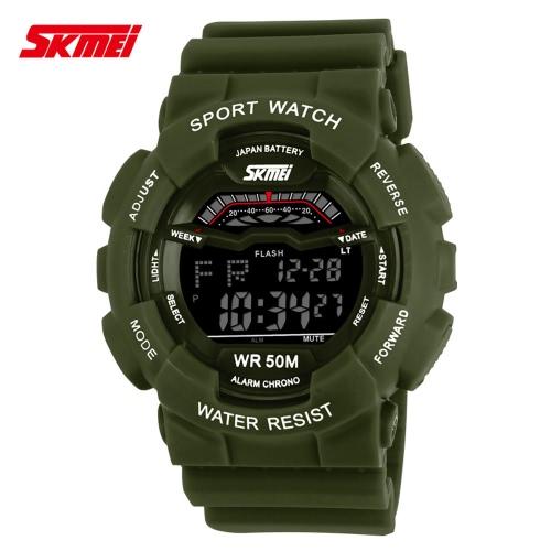 SKMEI 5ATM Water Resistant Men Digital Wristwatch Outdoor Sports Military Watch with Calendar Alarm Backlight Week Stopwatch